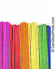 colorful Wooden ice cream stick isolated on white background
