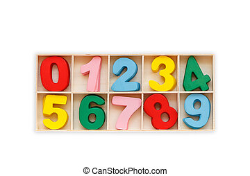 Colorful wooden number in square box. Top view. Isolated on white. Saved with clipping path