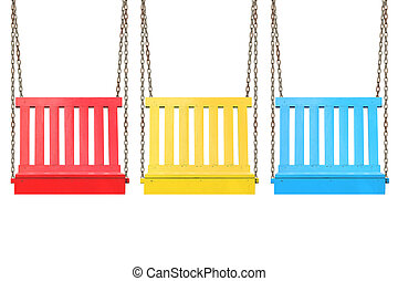 wooden swing isolated on white background