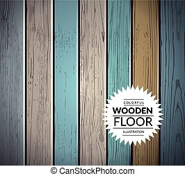 Colorful wooden vector background - Colorful vintage wooden...