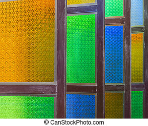Colorful wooden window