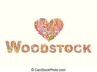 Colorful Woodstock flowers lettering and heart shape with flower power for t shirt print, party poster and other design