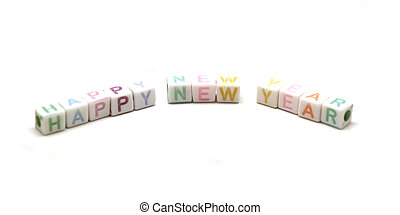 colorful word happy new year isolated on white