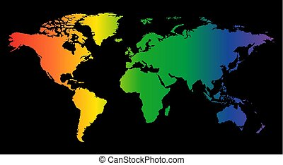 colorful world map isolated on black background. World vector illustration