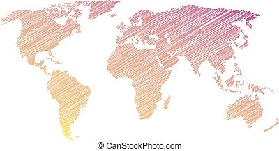 Colorful world map with scribble on a white background. Vector illustration
