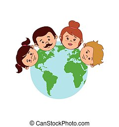 colorful world with family faces