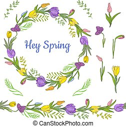 Colorful wreath from beautiful crocuses, tulips and different herbs. Endless horizontal brush.