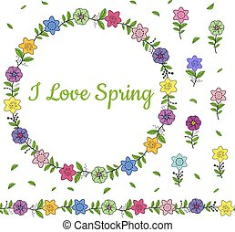 Colorful wreath from different spring flowers. Endless horizontal brush. Seamless horizontal border.