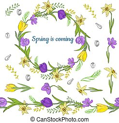 Colorful wreath from various spring flowers. Endless horizontal brush. Seamless horizontal border.