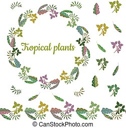 Colorful wreath made from different leaves of tropical plants. Endless horizontal brush. Seamless horizontal border.