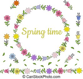 Colorful wreath made from different spring flowers and leaves. Endless horizontal brush. Seamless horizontal border.