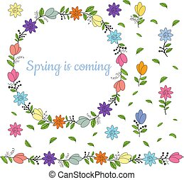Colorful wreath made from different spring flowers and leaves. Welcoming lettering. Endless horizontal brush. Seamless horizontal border.
