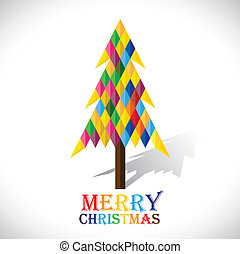 Colorful xmas tree made with origami papers in diamond shape- vector graphic. This illustration shows abstract christmas tree made of paper with colorful text merry christmas