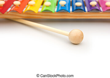 colorful xylophone on white with copy space