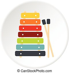 Colorful xylophone toy and sticks icon circle