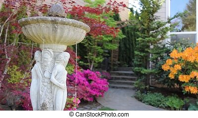 Colorful Yard in Spring Season - Concrete Water Fountain...