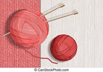 Colorful yarn balls for knitting vector illustration