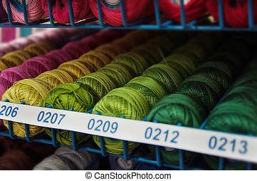 colorful yarn shoted in store