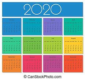 Calendar 2019 year. colorful set. simple vector template.
