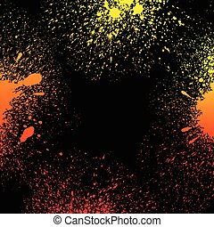 Colorful yellow, orange and red grungy gradient paint splashes on black background