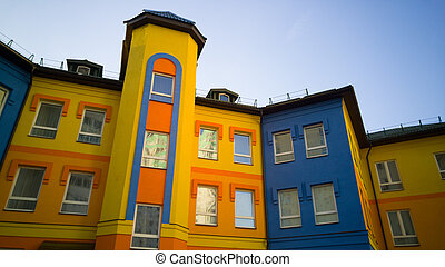 Colorful yellow with blue building
