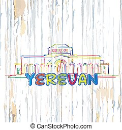 Colorful Yerevan drawing on wooden background