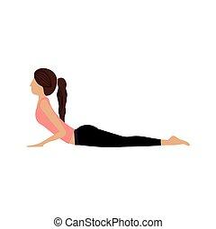 Colorful Yoga Woman Cobra Pose