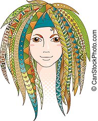 Colorful young girl with patterned zentangle dreadlocks....