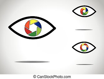 colorful young human eye with different digital camera shutter icon symbols -   abstract photographic eyes illustration collection set
