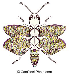 Colorful zentangle stylized cartoon beetle insect, isolated on white background. Sketch for adult antistress coloring page. Hand drawn doodle, zentangle.