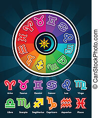 Colorful Zodiac Symbols - Colorful zodiac circle and...