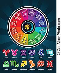 Colorful Zodiac Symbols - Colorful zodiac circle and...