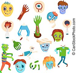 Cute green cartoon zombie character set part of body monsters vector illustration.