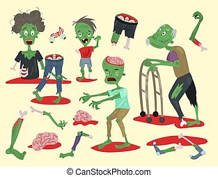 Colorful zombie scary cartoon elements halloween magic people body fun group cute green character part monsters vector illustration.