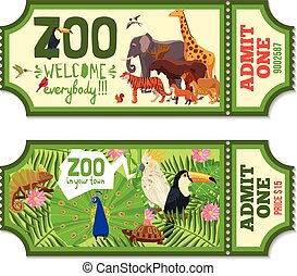 Colorful Zoo Tickets With Tropical Background