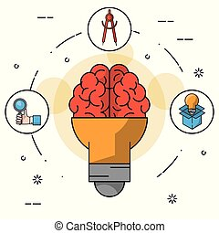 colorfulbackground with light bulb on shape of brain and icons of hand with magnifying glass and compass and light bulb in cardboard box