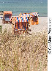 colorfuled, travemunde., stühle, lubeck, roofed, deutschland, gestreift, sandstrand, sandig