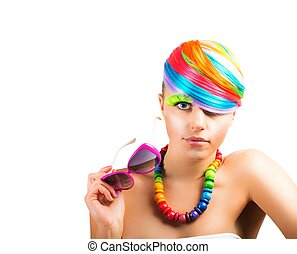 Colorfull beauty fashion portrait
