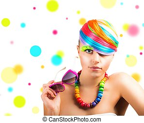 Concept of beauty with colorfull fashion portrait of a girl