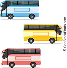 Colorfull Bus - illustration of set of colorful bus on white...