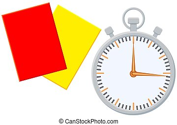 Colorfull cartoon sport timer referee card icon set.