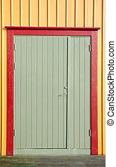 Colorfull door on a wall