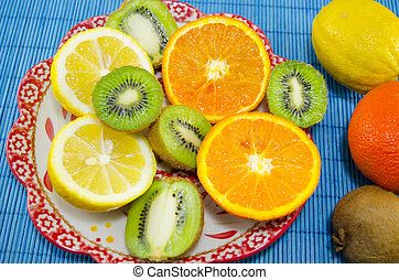 Colorfull fruit dessert on a plate