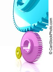 Colorfull gears. The CMYK concept