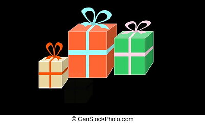 Colorfull gift boxes appearing on black background, happy...
