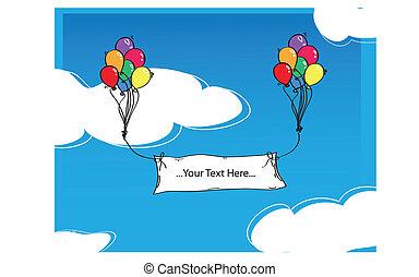 colorfull, globos, con, etiquetas