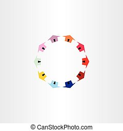 colorfull houses circle vector logotype