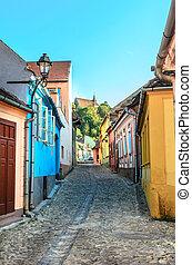 colorfull, medieval, calle, en, sighisoara
