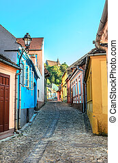 Colorfull medieval street in Sighisoara