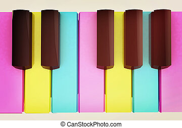 colorfull, piano, keys., 3d, illustration., ouderwetse ,...